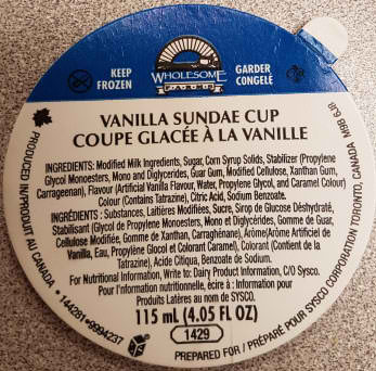The Canadian Food Inspection Agency is warning the public not to consume Wholesome Farms' Vanilla Sundae Cups due to possible Listeria contamination. (Photo: Canadian Food Inspection Agency)