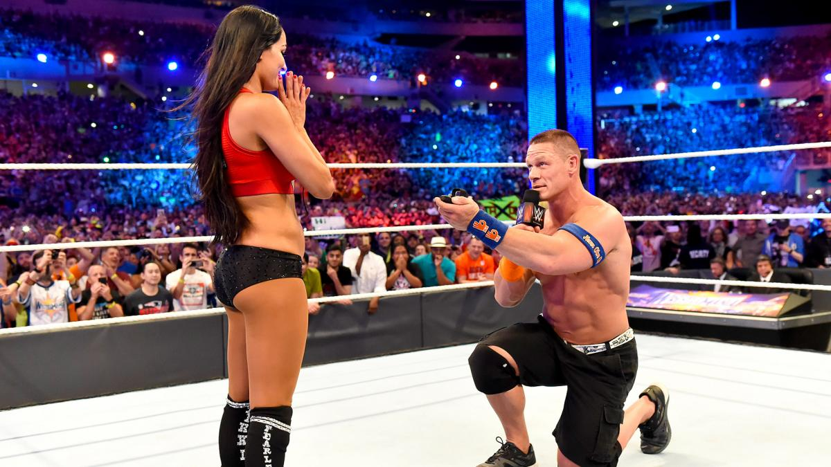 Cena got down on one knee after the pair defeated The Miz and Marse in a tag team match Sunday at WrestleMania 33. (Photo: World Wrestling Entertainment)