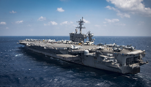 North Korea is vowing tough counteraction to any military moves that might follow the U.S. move to send the USS Carl Vinson aircraft carrier and its battle group to waters off the Korean Peninsula. (Photo: Official U.S. Navy Page/ Flickr)