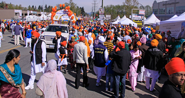 British Columbia's Liberal and NDP leaders largely kept the politics out of their speeches while addressing the Sikh community at the annual Vaisakhi celebration this weekend. (Photo: waferboard/ Flcikr)