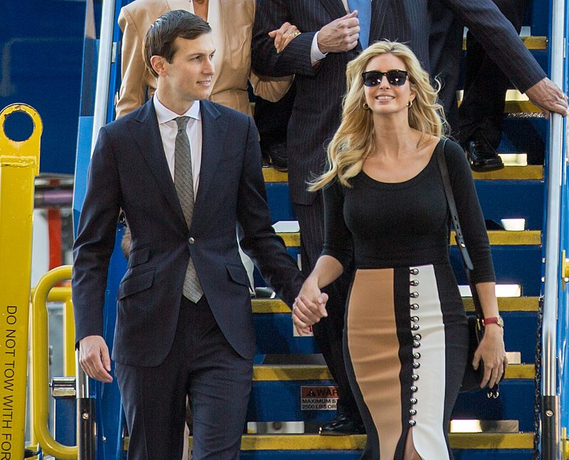 Jared Kushner and Ivanka Trump, presidential relatives with powerful White House jobs, can help shape America's foreign and domestic policies. (Photo by North Charleston from North Charleston, SC, United States (Boeing 787-10 rollout with President Trump) [CC BY-SA 2.0 (http://creativecommons.org/licenses/by-sa/2.0)])