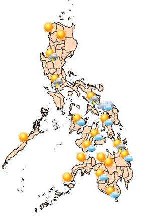 Moderate to strong winds blowing from east to souththeast will prevail over northern and central Luzon.  (Photo: PAGASA)