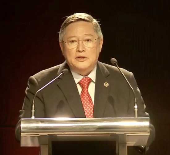 "In his speech during the Dutertenomics Forum held at The Conrad Hotel in Pasay City, Dominguez said the investment-grade rating that the country currently enjoys ""is a testament"" of the positive impact of fiscal consolidation that started during the term of former President Gloria Macapagal Arroyo, who served the country from 2001-10. (Photo: Department of Finance)"