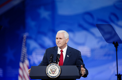 "From the wind-swept deck of a massive aircraft carrier, Vice-President Mike Pence on Wednesday warned North Korea not to test the resolve of the U.S. military, promising it would make an ""overwhelming and effective"" response to any use of conventional or nuclear weapons. (Photo;: Michael Vadon/Flickr)"