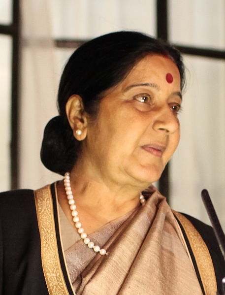 Indian Foreign Minister Sushma Swaraj said the government had rescued 29 workers from Saudi Arabia and was bringing them home. (Photo By Foreign and Commonwealth Office (Indian Diaspora event) [CC BY 2.0 (http://creativecommons.org/licenses/by/2.0)])