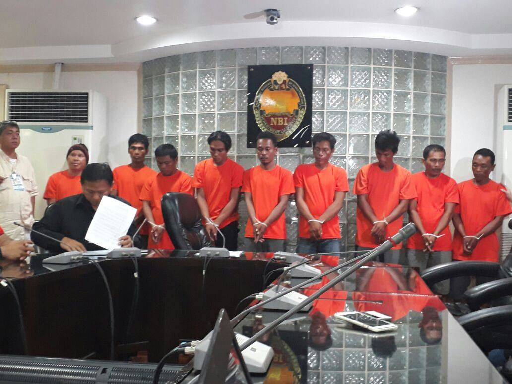 NBI presents nine illegal fishing suspects in Navotas City in a press conference on Thursday (Aug. 10, 2017) (NBI Photo)