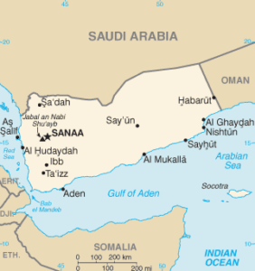 Map of Yemen, Saudi Arabia being north of it (Wikimedia Commons, Public Domain)