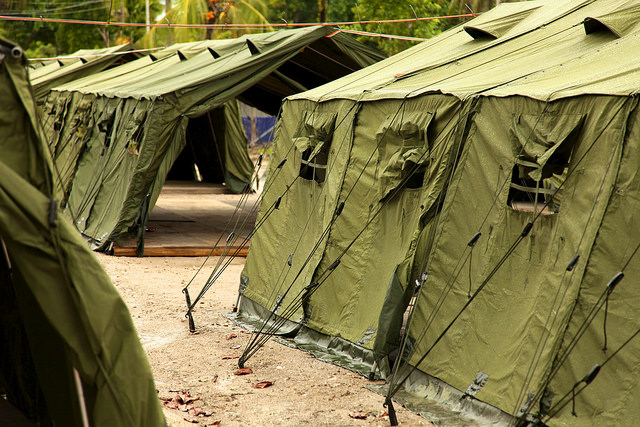 The camp inside a Manus Island navy base was declared closed on Oct. 31 based on the Papua New Guinea Supreme Court's ruling last year that Australia's policy of housing asylum seekers there was unconstitutional. (Photo by Global Panorama/Flickr, CC BY-SA 2.0)