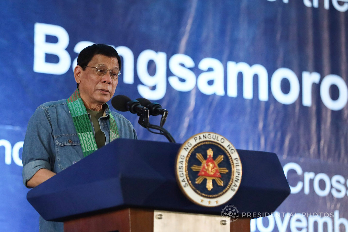 President Rodrigo Roa Duterte, in his speech during the Bangsamoro Assembly held at the Old Provincial Capital in Sultan Kudarat, Maguindanao on November 27, 2017, announces that he will ask Congress for a special session where Moros as well as Lumads can voice out their concerns on how the historical injustices committed against them would be addressed. ROBINSON NIÑAL JR./PRESIDENTIAL PHOTO