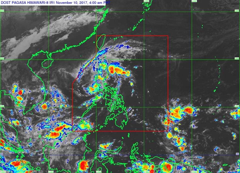 "Signal No. 1 is hoisted over the provinces of Cavite, Batangas, Bataan, and Zambales. Moderate to heavy rainfall is expected within ""Salome's"" 200-km diameter. (Photo:  Dost_pagasa/Facebook)"