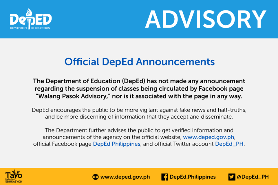 """The Department of Education (DepEd) on Monday warned the public to be cautious against fake news and fake """"WalangPasok"""" (no classes) advisories.  (Photo: DepEd Philippines/Facebook)"""