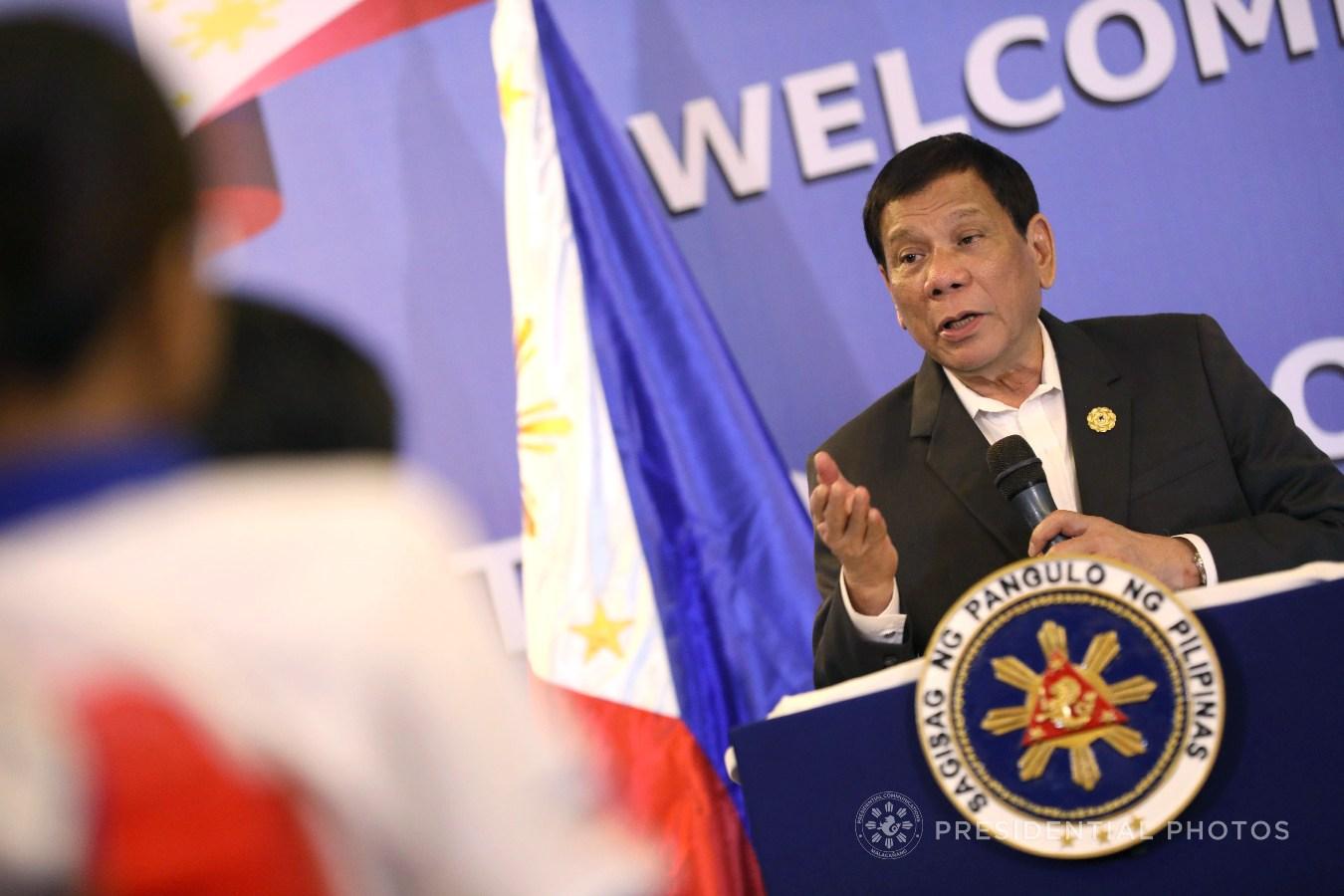 President Rodrigo Roa Duterte addresses the Filipinos residing in Vietnam during a meeting at the Pulchra Resort in Da Nang City, Vietnam on November 9, 2017. (KARL NORMAN ALONZO/PRESIDENTIAL PHOTO)