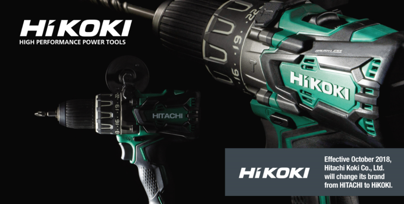 "The major manufacturer of power tools and life-science equipment will also rebrand its full line of power tools known as HITACHI and/or Hitachi Koki under the new HiKOKI (pronounced ""hai-koh-key"") name, effective October 1, 2018. (Photo from hitachipowertools website)"