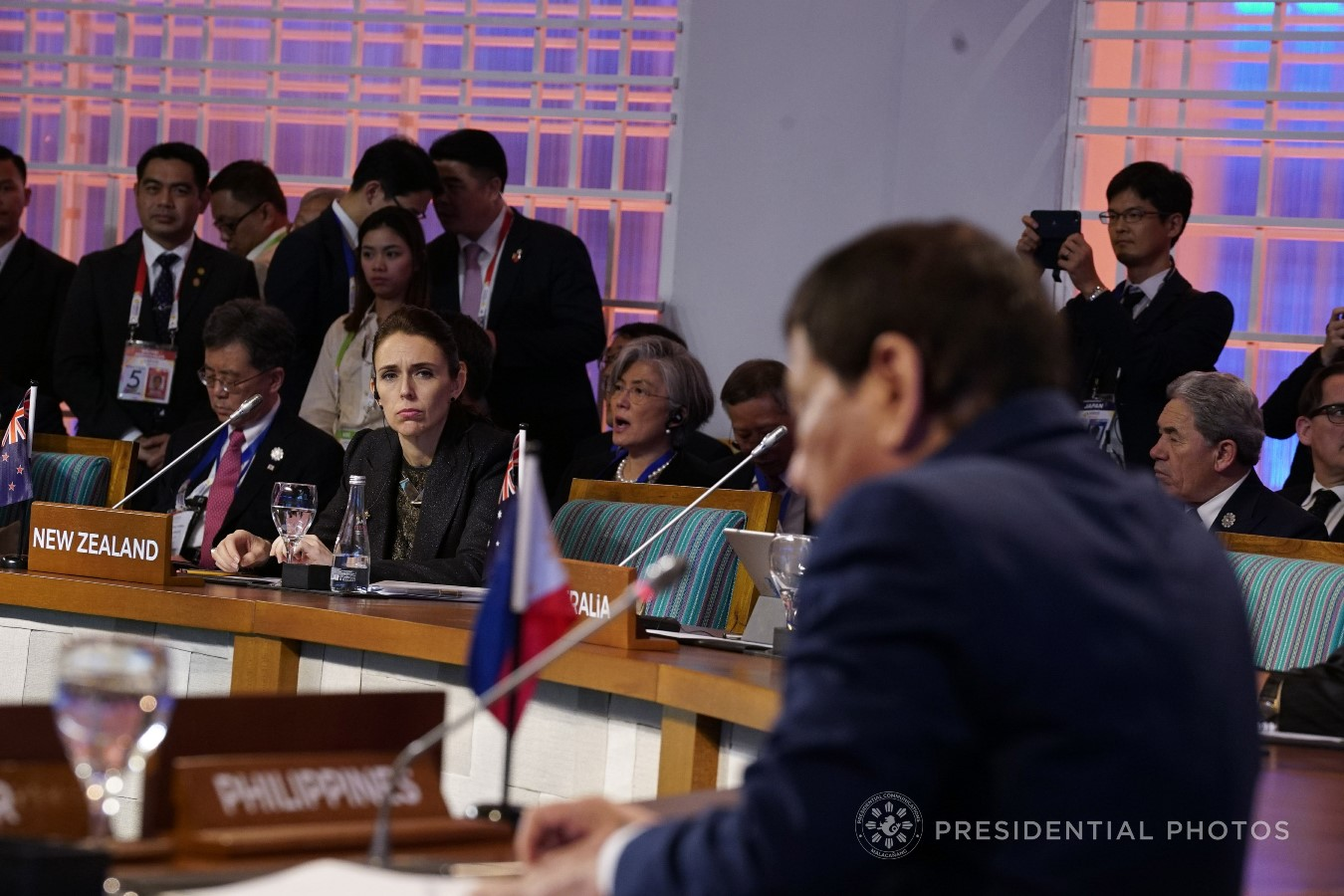 Prime Minister of New Zealand Jacinda Ardern listens to the discussion during the 12th East Asia Summit at the Philippine International Convention Center on November 14, 2017. KING RODRIGUEZ/PRESIDENTIAL PHOTO