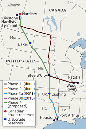 Keystone Pipeline Route (Photo by Meclee - Own work, CC BY-SA 3.0)