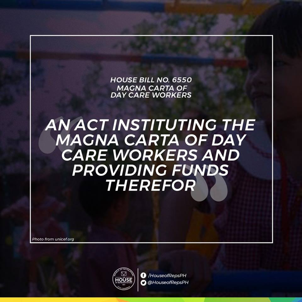 The House of Representatives has unanimously approved on third and final reading a measure seeking to establish a Magna Carta of Day Care Workers. (Photo: House of Representatives/Facebook)