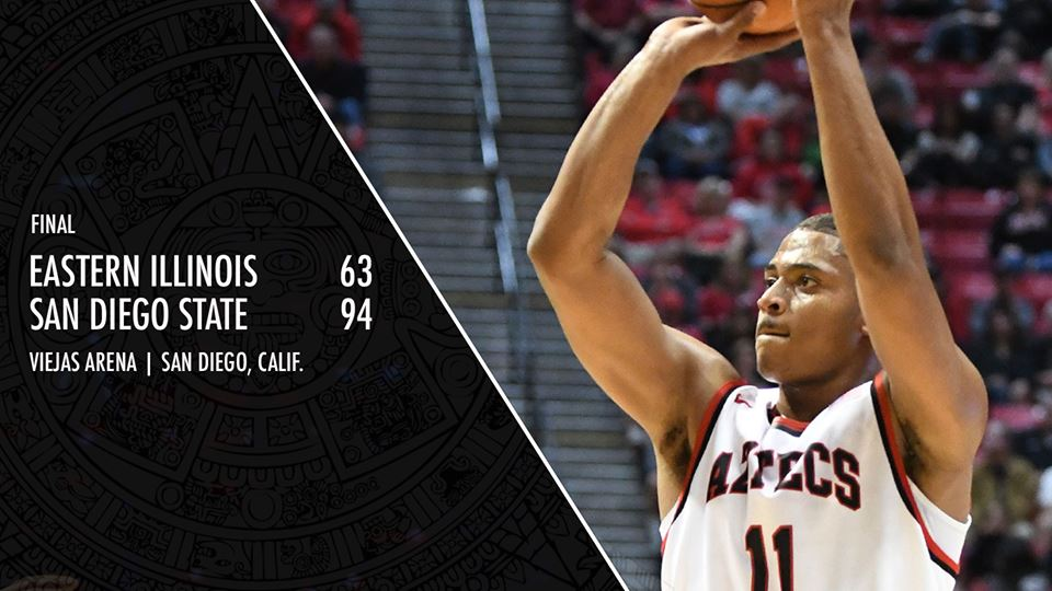 Mitchell, a 6-foot-6 forward, went off after halftime, including hitting six 3-pointers. He finished with seven 3-pointers and made 10 of 14 shots overall. (Photo: San Diego State University Athletics/Facebook)
