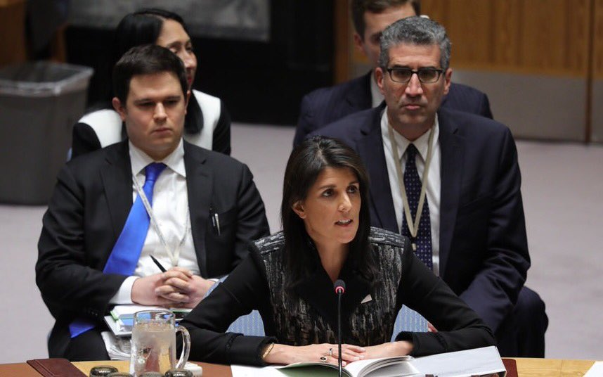 """To my Russian friends, the next chemical weapons attack is on your head,"" U.S. Ambassador Nikki Haley said. ""By not having a JIM, you are basically telling the entire world that chemical weapons are OK to use. That's what we should be embarrassed about today."" (Photo: Nikki Haley/Twitter)"