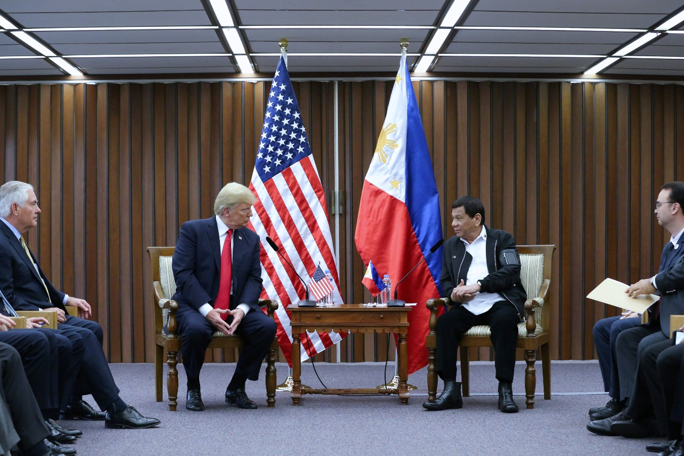 President Rodrigo Roa Duterte and US President Donald Trump discuss matters during a bilateral meeting at the Philippine International Convention Center in Pasay City on November 13, 2017. KARL NORMAN ALONZO/PRESIDENTIAL PHOTO