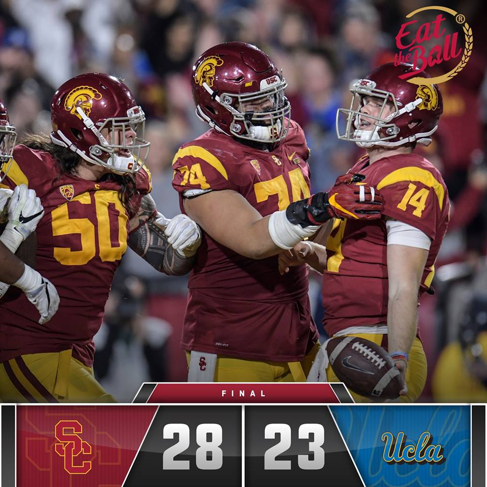 Sam Darnold passed for 264 yards and a touchdown and rushed for another score, and No. 12 Southern California persevered for its fourth consecutive victory over crosstown rival UCLA, 28-23 on Saturday night. (Photo: USC Trojans/Facebook)