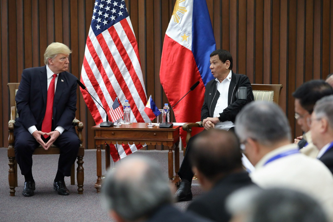 FILE: President Rodrigo Roa Duterte and US President Donald Trump discuss matters during a bilateral meeting at the Philippine International Convention Center in Pasay City on November 13, 2017. ROBINSON NIÑAL JR./PRESIDENTIAL PHOTO