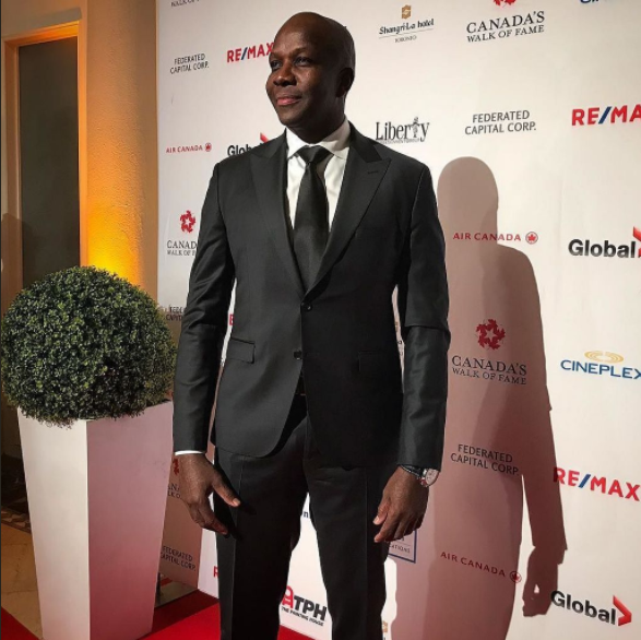 """""""This is definitely a huge legacy piece for me,"""" Bailey said from the red carpet alongside his 11-year-old son, Mateus, who presented his award. (Photo: Donovan Bailey/Twitter)"""
