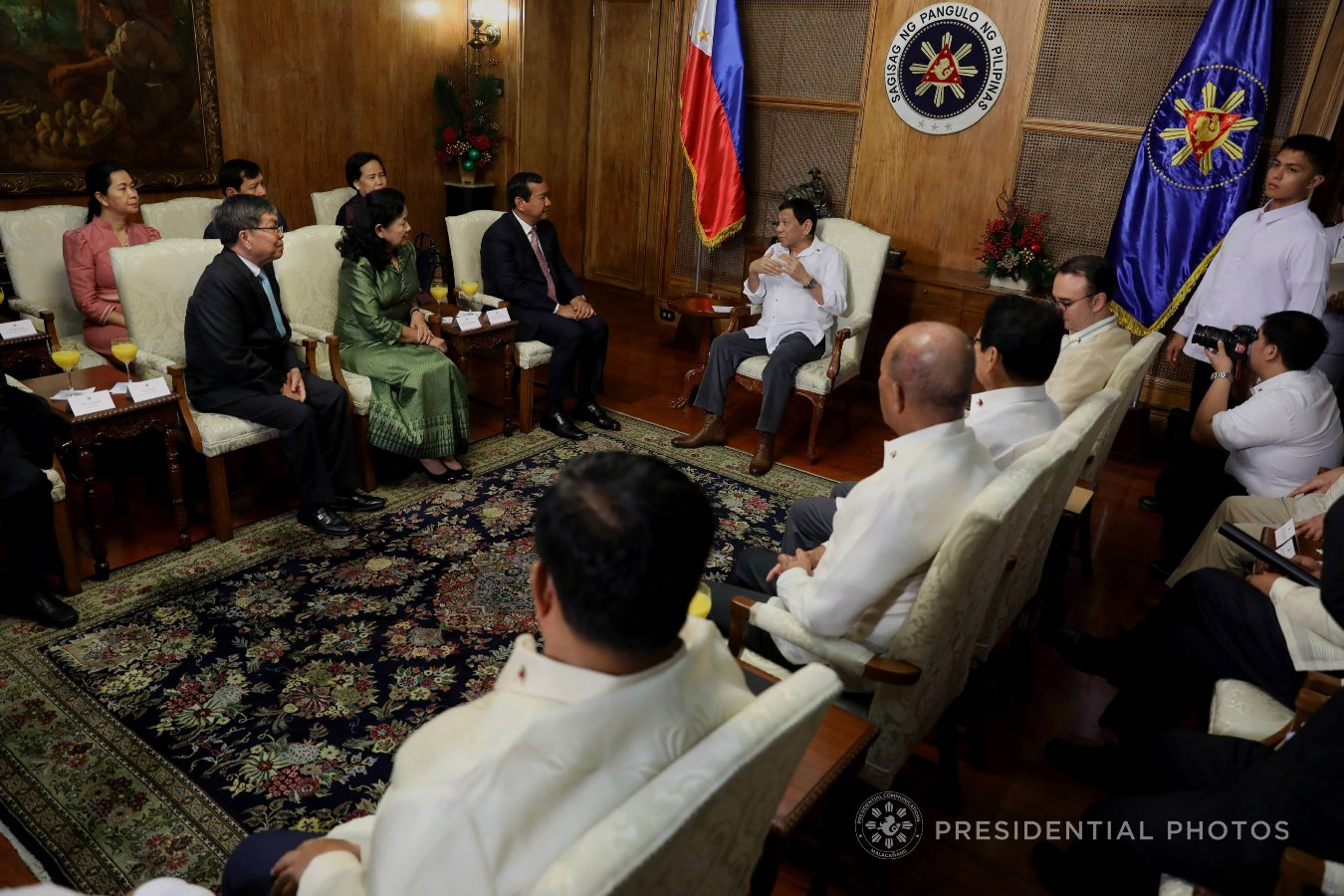 President Rodrigo Roa Duterte discusses matters with Kingdom of Cambodia Minister of Foreign Affairs and International Cooperation Prak Sokhon who paid a courtesy call on the President in Malacañan Palace