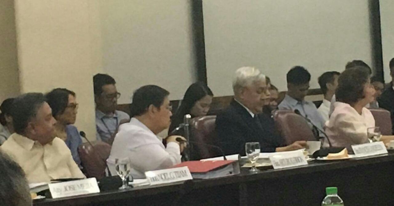 FACE-OFF. Four Supreme Court Associate Justices attend the House committee on justice's hearing on the impeachment complaint against Chief Justice Maria Lourdes Sereno on December 11, 2017. (From left to right: Associate Justices Noel Tijam, Arturo Brion (retired), Francis Jardeleza and Teresita Leonardo-De Castro.) (PNA photo by Filane Mikee Z. Cervantes)