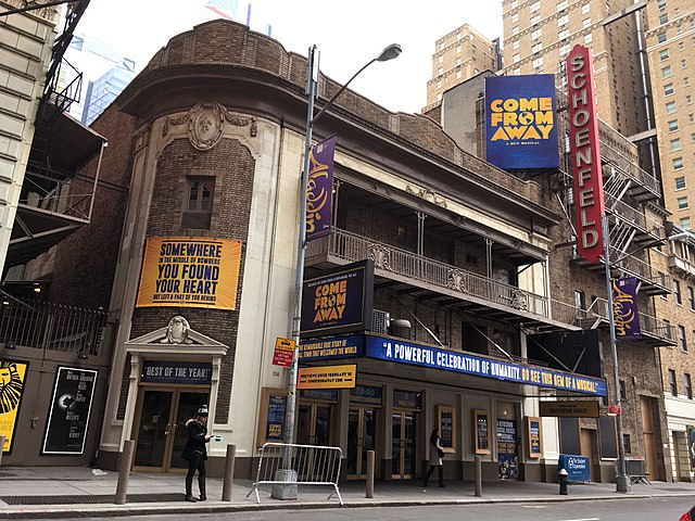 Come From Away on Broadway at the Gerald Schoenfeld Theatre. (Photo By Steam Pipe Trunk Distribution Venue from Harrisburg, PA, United States - Come From Away on Broadway, January 22, 2017, CC BY 2.0)
