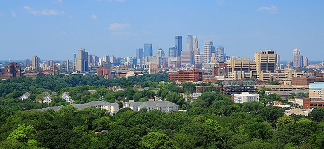 Minneapolis skyline from the Witch's Tower. (Photo By Michael Hicks, CC BY 2.0)
