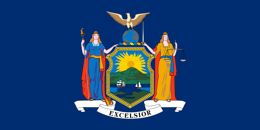 Flag of New York (Photo By State of New York - xrmap flag collection 2.7, Public Domain)