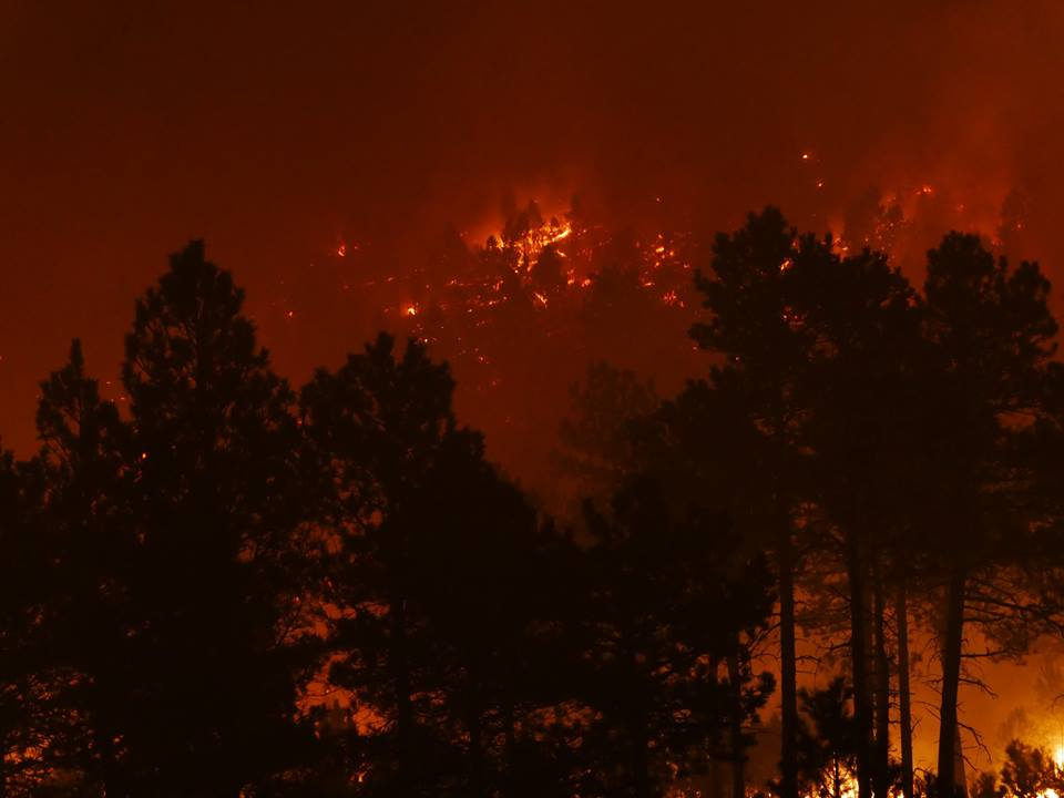 Strong wind gusts and thick smoke were making it difficult for firefighters battling a spreading wildfire late Tuesday in Custer State Park in the Black Hills of South Dakota. (Photo: Custer State Park/Facebook)