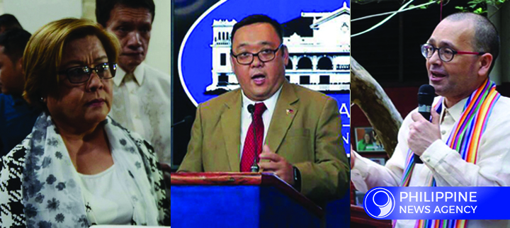 TIME FOR TRUTH AND HONESTY. Presidential Spokesperson Harry Roque (center) slams Sen. Leila de Lima (left) and Commission on Human Rights Chairperson Chito Gascon (right) for contradicting their own definition of extra-judicial killings. (PNA Photo)
