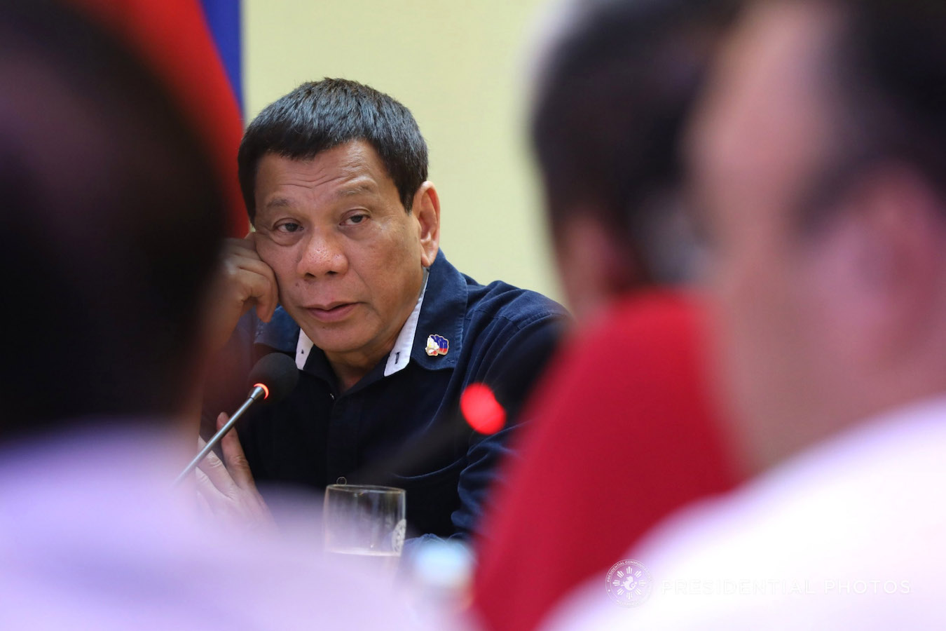 President Rodrigo Roa Duterte convenes with some members of his cabinet and local government officials to discuss the extent of the Typhoon Urduja's damage as well as the response and relief efforts on the typhoon-stricken areas at the Naval State University in Naval, Biliran Province on December 18, 2017. ROBINSON NIÑAL JR./PRESIDENTIAL PHOTO