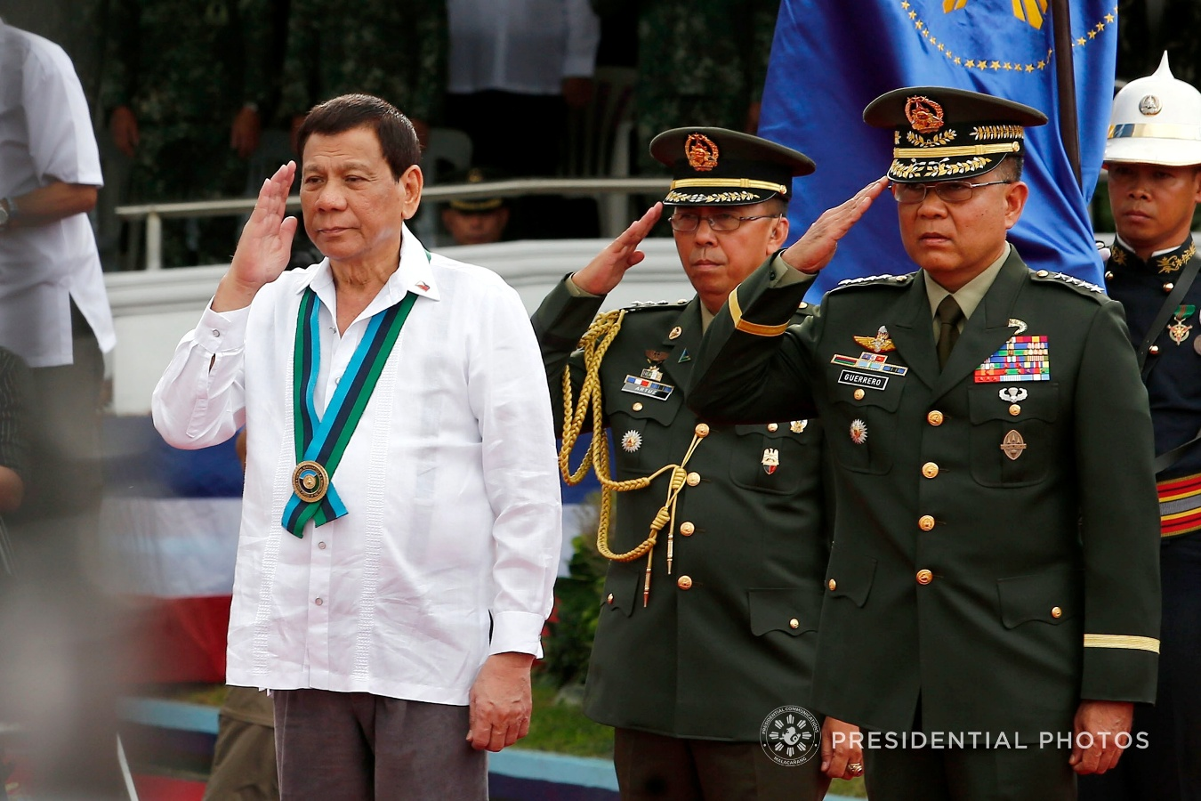 President Rodrigo Roa Duterte is accorded with military honors upon his arrival at Camp Emilio Aguinaldo in Quezon City for his attendance to the 82nd Anniversary Celebration of the Armed Forces of the Philippines (AFP) on December 20, 2017. Accompanying the President is AFP Chief of Staff General Rey Guerrero. ALFRED FRIAS/PRESIDENTIAL PHOTO