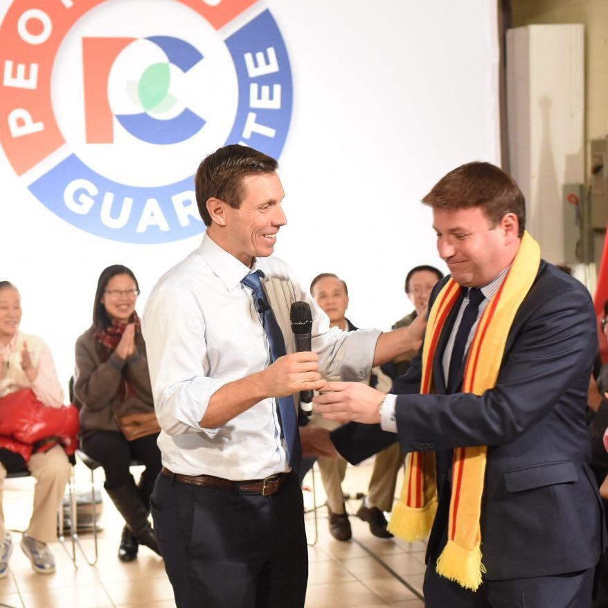 In the span of five days, the party saw both its leader, Patrick Brown (standing, left), and president, Rick Dykstra, step down amid sexual misconduct allegations. (Photo: Patrick Brown/Facebook)