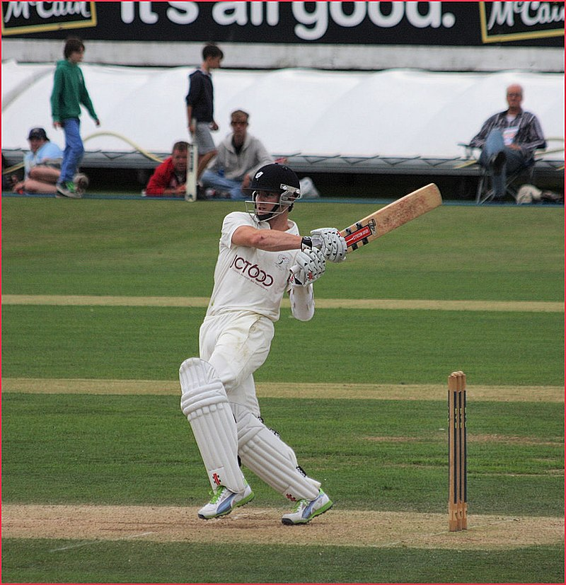 Kane Williamson batting against Durham (Photo https://en.wikipedia.org/wiki/Kane_Williamson#/media/File:Kane_WBy Dave Morton - 2 28 Kane Williamson, CC BY-SA 2.0)