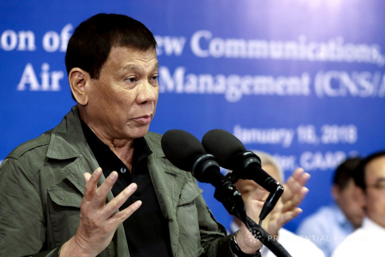 President Rodrigo Roa Duterte, in his speech during the inauguration of the new Communications, Navigation, Surveillance / Air Traffic Management (CNS/ATM) Systems Development Project at the Philippine Air Traffic Management Center (PATMC) in Pasay City on January 16, 2018, announces that he will conduct a review on the various public works projects that have remained unfinished citing that he may terminate the contractors and find new ones who will get the job done. SIMEON CELI JR./PRESIDENTIAL PHOTO