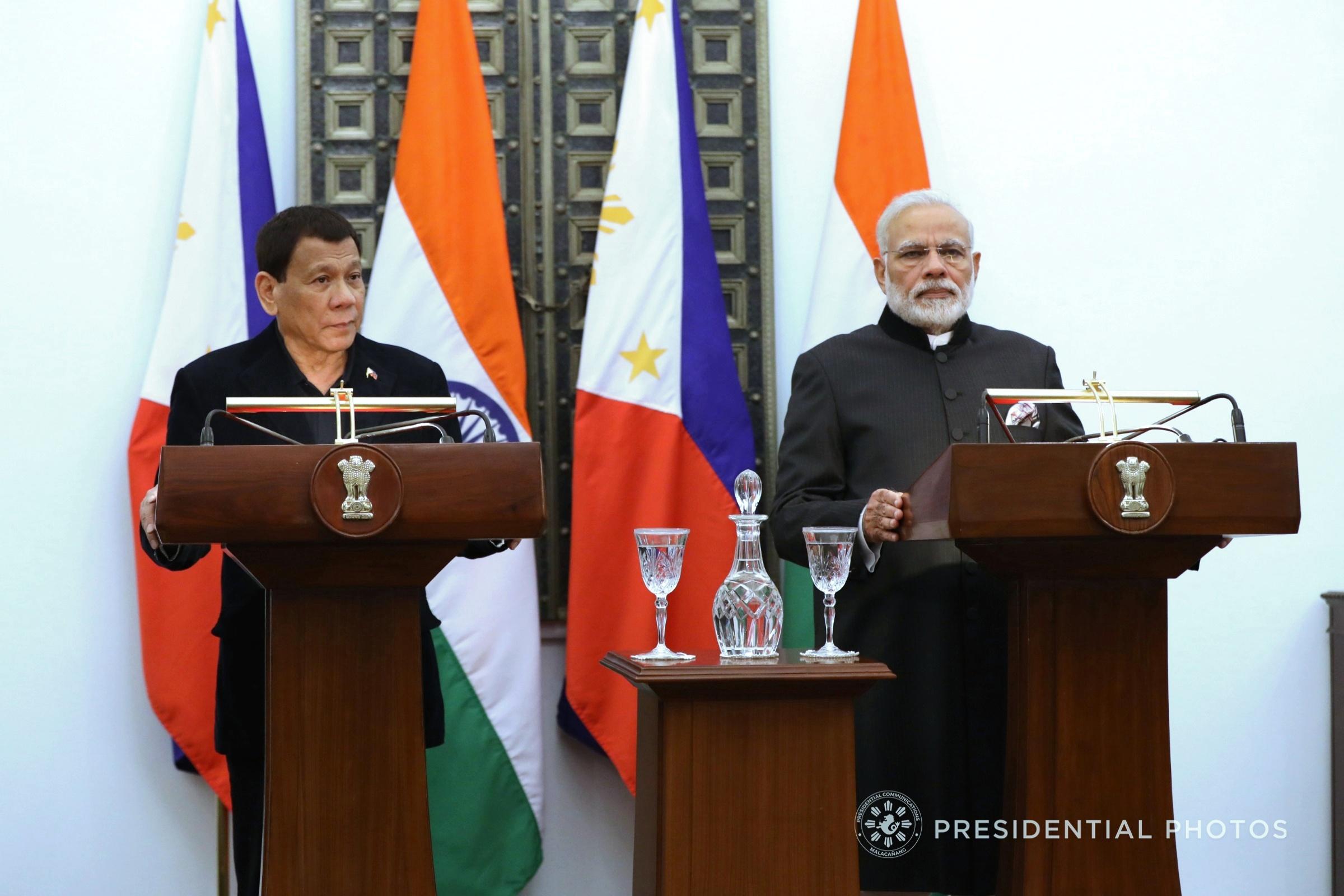 Pres. Rodrigo Duterte and India Prime Minister Narendra Modi (Presidential Photo)