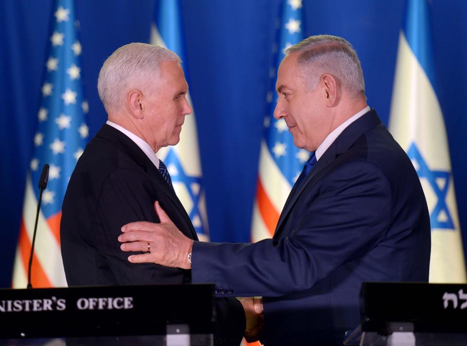 Vice-President Mike Pence (left) reiterated to Israeli leaders on Tuesday that the Trump administration plans to pull out of the landmark 2015 Iran nuclear deal unless the pact is amended. (Shutterstock)