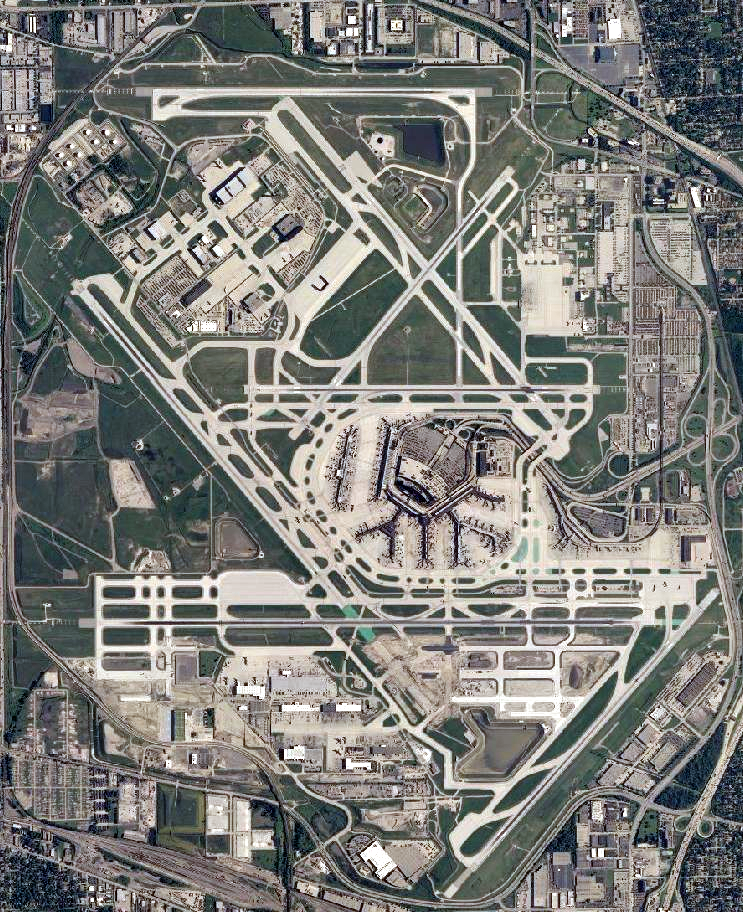 Satellite image of Chicago O'Hare International Airport (Photo United States Geological Survey, an agency of the United States Department of the Interior, Public Domain)