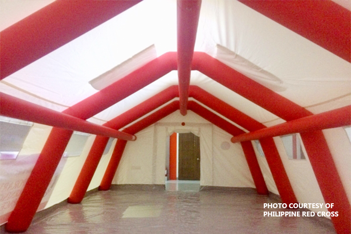 TENTS FOR STUDENTS. The Philippine Red Cross will provide tents like this to serve as temporary classrooms for students in Albay whose schools have been used as evacuation centers. Each tent could accommodate 45 children. (Photo courtesy of PRC)