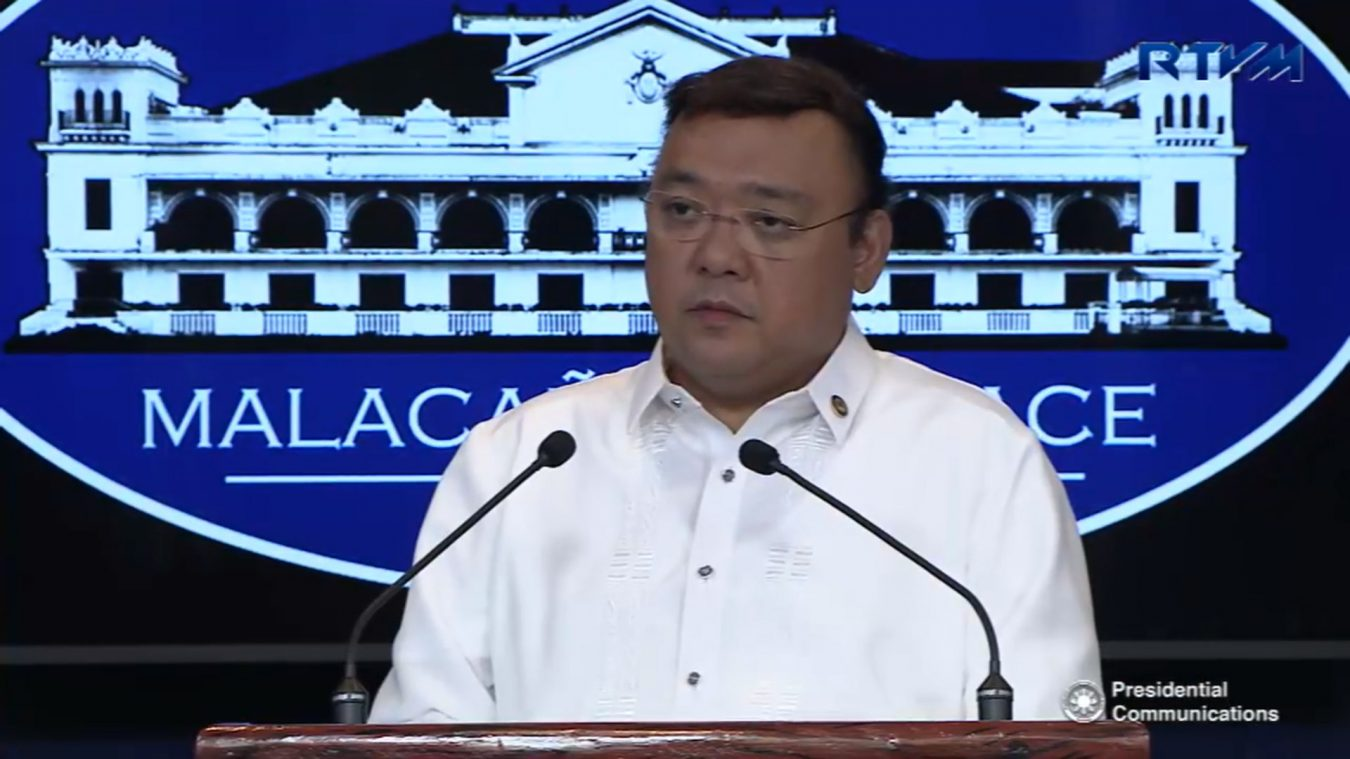 """FILE: """"We respect that order of the SC, noting that prosecution of case is handled by the Special Prosecutor of the Office of the Ombudsman,"""" Presidential Spokesperson Harry Roque said in a text message to Palace reporters Friday. (PCOO Photo)"""