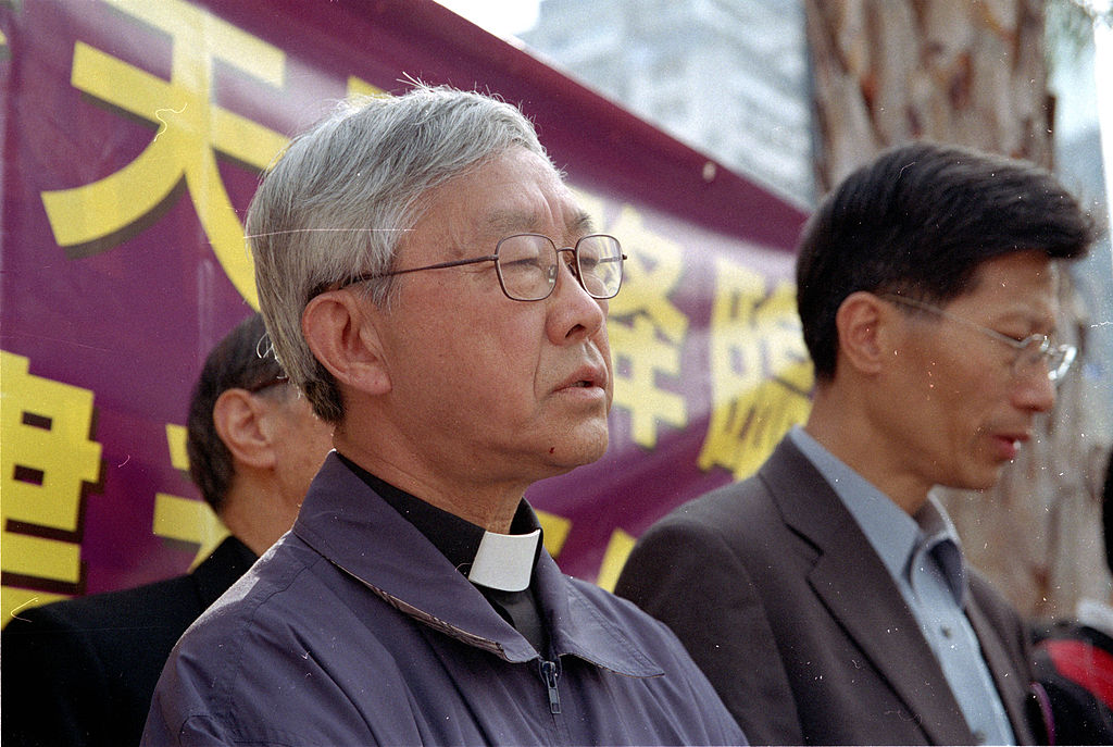 Bishop Joseph Zen prayed with Catholics before the protest against Hong Kong Basic Law Article 23 legislation (Photo By Alfredoko - Own work, CC BY-SA 3.0)