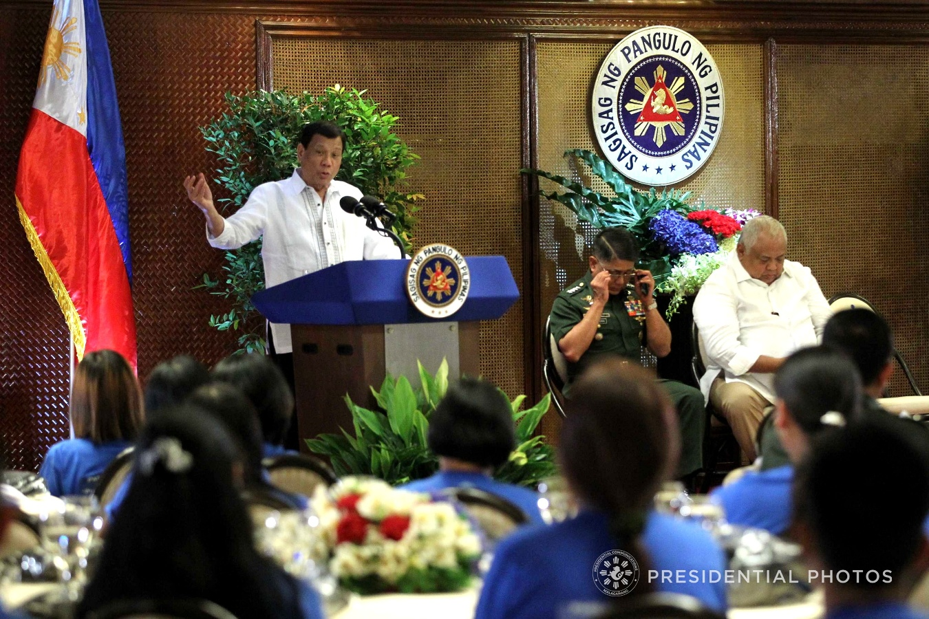 President Rodrigo Roa Duterte, in his message to the rebel returnees at Malacañan Palace on February 7, 2018, explains how insurgency has stunted the development of the agriculture sector in the hinterlands. ACE MORANDANTE/PRESIDENTIAL PHOTO