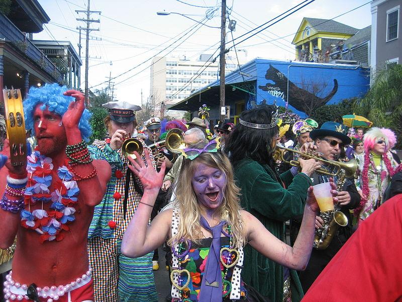 Mardi Gras Day, New Orleans: Krewe of Kosmic Debris revelers on Frenchmen Street (Photo By Infrogmation of New Orleans - photo by Infrogmation (talk), GFDL)