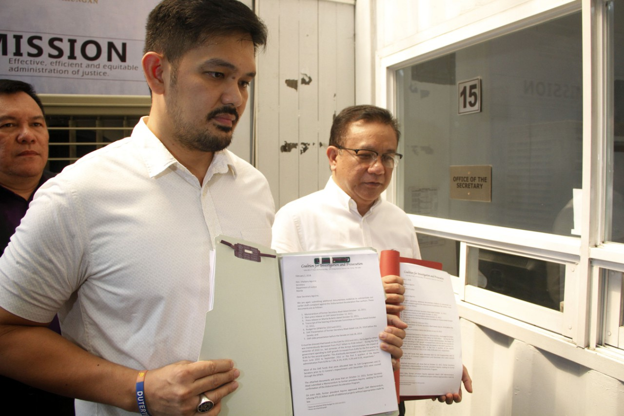 Presidential Anti-Corruption Commission (PACC) Commissioner and former Manila councilor Greco Belgica files additional documents on the alleged misuse of Disbursement Acceleration Program (DAP) funds during the term of former president Benigno Aquino III at the Department of Justice (DOJ) on Thursday (Feb. 1, 2018). (PNA photo by Jess Escaros Jr.,)