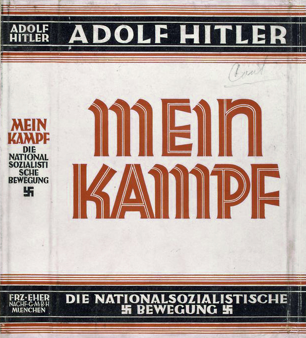 Dust jacket of the book Mein Kampf, written by Adolf Hitler. (Photo By Unknown author of dust jacket; Adolf Hitler author of volume - This image is available from the New York Public Library's Digital Library under the digital ID 487722: digitalgallery.nypl.org → digitalcollections.nypl.orgThis tag does not indicate the copyright status of the attached work. A normal copyright tag is still required. See Commons:Licensing for more information.беларуская (тарашкевіца)| বাংলা| English| français| hrvatski| Nederlands| русский| Türkçe| 中文|+/−, Public Domain)