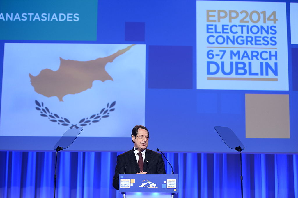 Nicos Anastasiades in Dublin in March 2014 (Photo By European People's Party - Nicos Anastasiades, CC BY 2.0)