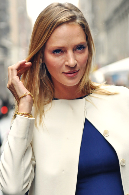 Uma Thurman, photographed in 2011 by Jiyang Chen, attending the Calvin Klein Collection Spring 2012 fashion show at Mercedes-Benz Fashion Week in New York City (Photo By Jiyang Chen - Own work, CC BY-SA 3.0)